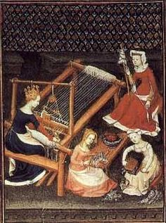 A medieval manuscript illumination depicting a weaver at her loom and other fiber crafts.