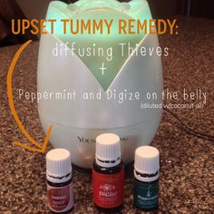 Helping upset tummy and vomiting - Young Living Thieves, Di-Gize and Peppermint Essential Oils For Nausea, Essential Oils For Babies, Essential Oil Uses, Natural Essential Oils, Young Living Essential Oils, Essential Oils Upset Stomach, Natural Oils, Natural Health, Upset Tummy