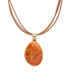 Another great find on #zulily! Orange Sponge Coral & Leather Pendant Necklace #zulilyfinds