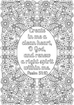 14 inspiring bible coloring pages Coloring Book Online, Coloring Books, Coloring Sheets, Free Coloring, Bible Verse Coloring Page, Heart Coloring Pages, Detailed Coloring Pages, Psalm 51, Coloring Pages Inspirational
