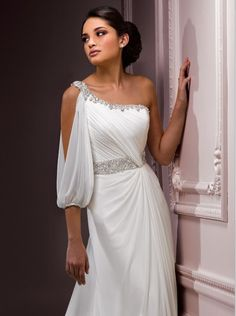 Grecian Royalty Sheath One Shoulder Sleeve Beach Wedding Dress Lindly.This Chiffon sheath inspires thoughts of Grecian royalty. Exquisite jeweling frames the one-shoulder neckline and encircles the natural waist. An open sleeve perfectly suits this captivating style.