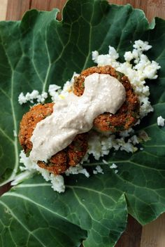 Raw Carrot Falafels and Cauliflower Couscous with a Hummus Dressing