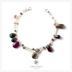 Red & Black Three Chain Bracelet Gemstone Bracelets, Red Black, Gemstones, Chain, Silver, Jewelry, Jewlery, Money, Bijoux