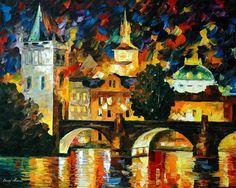 Prague painting — Prague oil painting on canvas by Leonid Afremov. Prague wall art. Prague wall decor. Prague home decor. Prague canvas art