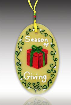 Season of Giving Ornament by Amalia Flaisher | Sand & Water Creations in Glass at aRT on Glass Studio
