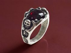 Large natural garnet and solid sterling silver ring. I was inspired by Tolkeins Lord of the Rings to carve this ring with two skeletons. Fine Jewelry, Jewelry Making, Unique Jewelry, Witch King Of Angmar, King Ring, Silicate Minerals, Crystal System, Aesthetic Grunge, Handcrafted Jewelry