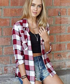 Flannel over crop top with high waisted shorts
