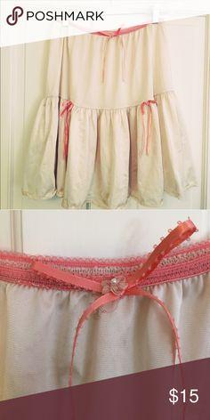 "Vintage Ruffle Slip Cream half slip with coral trim and bows. 26"" waist 18"" long Vintage Intimates & Sleepwear Chemises & Slips"