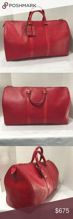 LOUIS VUITTON KEEPALL 45 RED EPI TRAVEL BAG Authentic Louis Vuitton read FB keep all 45. Leather travel bag. In great condition. Has some light wear on the bottom of the bag. Louis Vuitton Bags Travel Bags