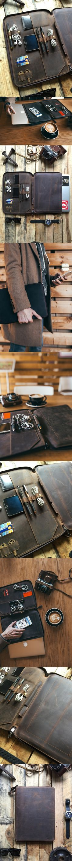 This full grain leather portfolio, leather organizer, leather folder was carefully designed to protect your Laptop, tablet, and all of your daily essentials. The beautiful distressed leather gives a unique and rustic look while keeping your essentials organized.