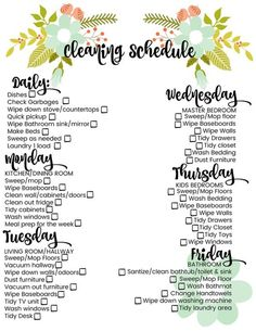 cleaning schedule 15 Useful House Cleaning Charts, Infographics, and Checklist to Make Cleaning Easier