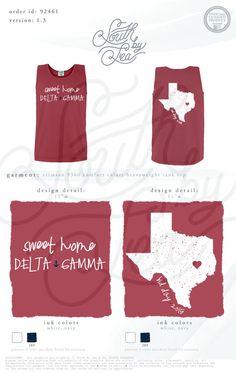 South by Sea | Sorority Shirts | Sorority Tanks | Greek Shirts | Delta Gamma | DG | Sweet Home Delta Gamma