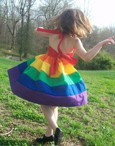 Girls Rainbow Party Dress