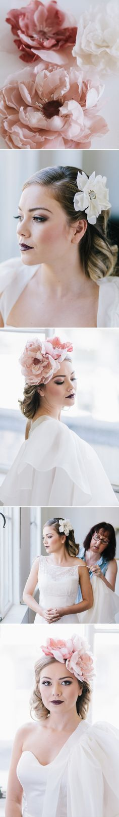 Sheer fabric flowers perfects that eclectic vintage wedding bridal look