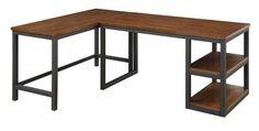 Marple Brown Black Wood Metal Office L Desk
