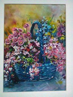 kwiaty w koszyku-akwarela