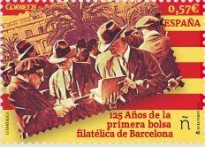 """Emisión: Efemérides. 125 años primera Bolsa Filatélica de Barcelona.Fecha emisión: 08/04/2016.Los primeros sellos adhesivos del mundo, surgieron en Gran Bretaña en 1840 y más tarde en España, en 1850. En 1854 surgió en Cataluña el primer establecimiento filatélico de la mano de Josep Maria Vergés de Cardona.En Barcelona se sitúa el inicio de la """"Bolsa filatélica"""" entre 1890 y 1892,el librero, Josep Graells Blanch, los puso a la venta en su establecimiento."""