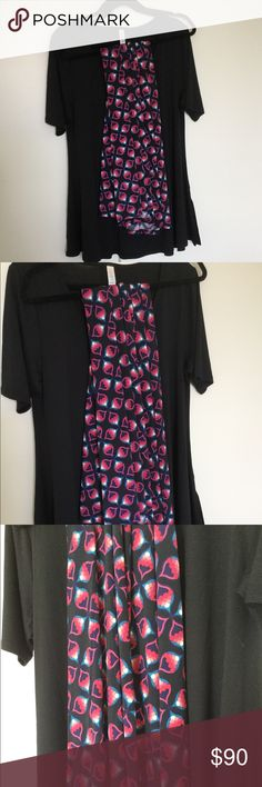 XL Perfect T w/ 2x Maxi skirt. LuLaRoe XL solid Black Perfect T paired with a 2x slinky Maxi with a black background! Black, pink, peach, blue, white. (Pairs nicely with dusty peach colored DKNY cardigan sold separately  in my closet. Bundle for a special price!) Top is an XL, but you can size down in a LuLaRoe Perfect T. LuLaRoe Skirts Maxi