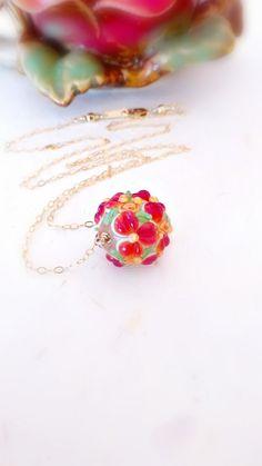 Lampwork necklace Lampwork jewelry One bead by JewelryRhapsody