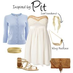 This outfit is inspired by Pit of Kid Icarus. I chose to do a white dress with a light blue cardigan that mimics his tunic. I also chose gold accessories that are of similar style to his. I chose a leaf headband, that is almost identical to his, and a wing necklace that incorporates his wings.