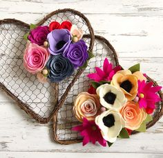Two colorful remakes heading out to two sweet makers . . . #valentinesday #valentineday #valentine #valentineswreath #valentinesgift #valentinegift #feltflowers #flowers #floral #redandpink #feltdecor #felt #handmadewithlove #wreath #handmade #handcut #heart #handcutfelt #etsy #etsyshop #wreathsofinstagram #sunshineandbloom