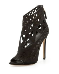 Levens Suede Cutout Sandal, Black by B Brian Atwood at Neiman Marcus.
