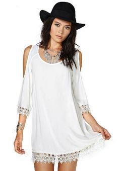Off-shoulder Lace Chiffon Dress