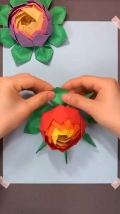Diy Crafts Hacks, Diy Crafts For Gifts, Crafts To Do, Hobbies And Crafts, Paper Crafts Origami, Paper Crafts For Kids, Origami Art, Tissue Paper Flowers, Flower Crafts
