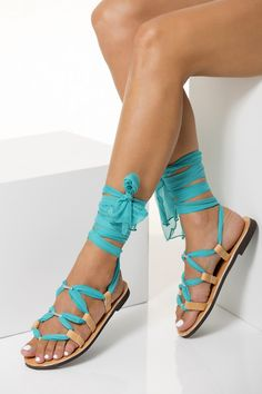 """Fully Customizable Sandals. Choose scarf laces from 15 colors, leather footbed from 6 colors and silver or 24k gold plated embellishments.Unique lace up sandals handmade of leather, silk and Greek meander embossed metal embellishments. The scarf laces are fully adjustable and the embellishments are removable so you can have the classic """"x"""" tying style, if you prefer. Greek Chic Handmades summer shoes are designed & handcrafted in Athens, Greece. Find your perfect pair of classy Greek… Beach Wedding Sandals, Bridal Sandals, Lace Up Sandals, Bridal Shoes, Women's Sandals, Flats, Flipflops, Leather Gladiator Sandals, Greek Sandals"""