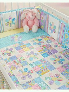 Quilting - Patterns for Children & Babies - Bed Quilt Patterns - Flower Fancies Quilt Baby, Baby Girl Quilts, Girls Quilts, Quilt Bedding, Bedding Sets, Kid Quilts, Quilts For Babies, Baby Quilt For Girls, Baby Boys