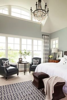 Paint color for master bedroom, Silver lake 1598 ben moore. Love the black and white accents