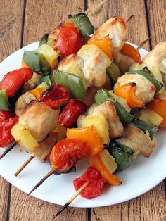 Baked Pineapple Chicken Kabobs   YummyAddiction.com