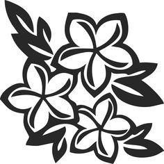 白黒の花のイラスト-白黒・3輪