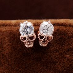 Heart Shaped Skull Earrings from GothRider.com