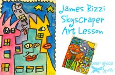 Super fun and easy watercolor art lesson inspired by American artist, James Rizzi