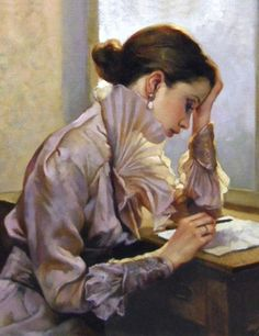 """Gianni Strino, La lettera""  - Well maybe more writing and thinking, but I feel sure she is reading what she wrote. Love the fabric in this painting. S"