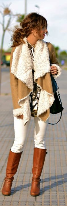 Keep things light for fall in camel coat with a cream shearling lining and white denim.