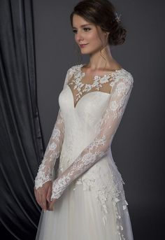 Style #50150051 modest long sleeve wedding gown with lace sleeves
