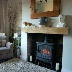 Oak Beam Fireplace, Oak Mantle, Wooden Mantle, Fireplace Mantle, Unused Fireplace, Simple Fireplace, Mantle Shelf, Inglenook Fireplace, Shelf Wall