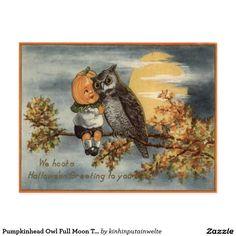 Pumpkinhead Owl Full Moon Tree Pumpkin