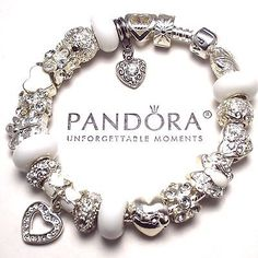 Authentic Pandora Silver Charm Bracelet with Crystal Heart Love Butterfly Beads