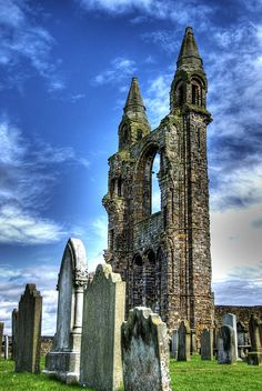 Ruins of St. Andrews Cathedral, Scotland  I think the members of the congregation who are buried here would be appalled to see the state of their beloved cathedral.