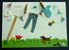 Handcut felt socks and babygrow with Jeans and bunting.