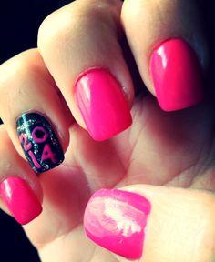 New Years Nails- 2014!! Hot pink and black nail art