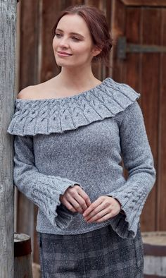 """Free for a Limited Time knitting pattern for pullover sweater with a wide neckline with cable collar and cabled bell sleeves. Sizes To Fit Bust 32/34"""" 36/38"""" 40/42"""" 44/46"""" 48/50"""" 52/54"""". Knit flat. DK weight yarn. Designed by Sirdar as Sweater in Sirdar Dapple DK 8155. Sweater Knitting Patterns, Free Knitting, Cable Sweater, Pullover Sweaters, Knitted Scarves, Dk Weight Yarn, Off Shoulder Tops, Concept Art, Free Pattern"""