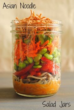 I'm in LOVE LOVE LOVE --> Asian Noodle Salad Jars // make several jars and enjoy all week! via Foxes Love Lemons #prepday #takeout #cleaneats