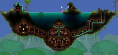 Terraria House Design, Terraria House Ideas, Terraria Tips, Dungeons And Dragons, Terraria Castle, Minecraft Treehouses, Minecraft Creations, Pixel Art, Cool Pictures