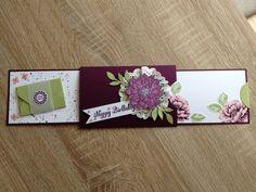 Ziehkarte mit Stampin up,Brombeermousse,Kirschblüte und Farngrün