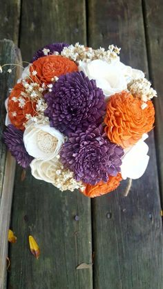 Orange and Purple Bridal Bouquet, Sola Wood Flowers, Rustic Wedding Flowers, Fall Bridal Bouquet Set Pink Wedding Shoes, Purple Wedding, Trendy Wedding, Elegant Wedding, Diy Wedding, Wedding Ideas, Bridal Bouquet Fall, Bridesmaid Bouquet, Sola Wood Flowers