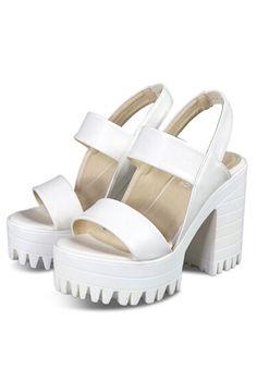 White Chunky High Heel Hidden Platform Casual Sandals -SheIn(Sheinside)